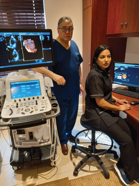 Dr Y T Singh and his assistant, Nevashnee Reddy, in the Echo Unit and work station at Netcare Umhlanga Cardio Oncology Unit viewing 3D and Strain Imaging.